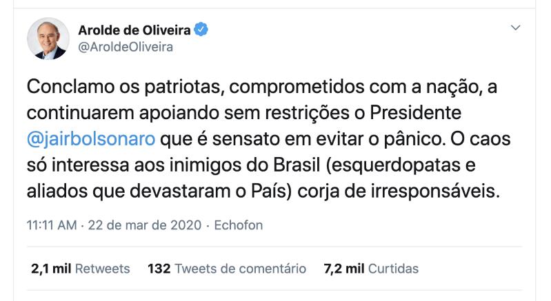 Arolde de Oliveira defendia cloroquina e era contra o isolamento - Imagem 7