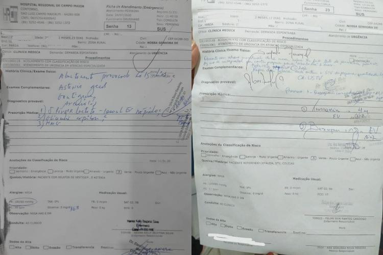 Fichas de atendiemento no Hospital Regional de Campo Maior apontando os abortos (Reprodução/ Em Foco)