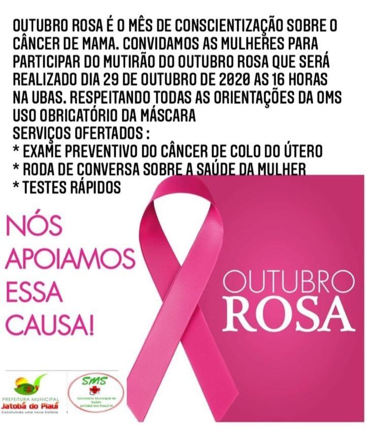 Jatobá do Piauí realizará mutirão do Outubro Rosa com serviços voltados para a saúde da mulher - Imagem 1