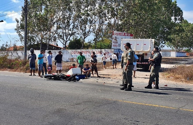 Motociclista morre atropelado por caminhão em Parnaíba (Reprodução/ Jornal da Parnaíba)
