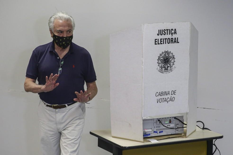 O ex-presidente Michel Temer (MDB) vota (Foto: SUAMY BEYDOUN/AGIF)
