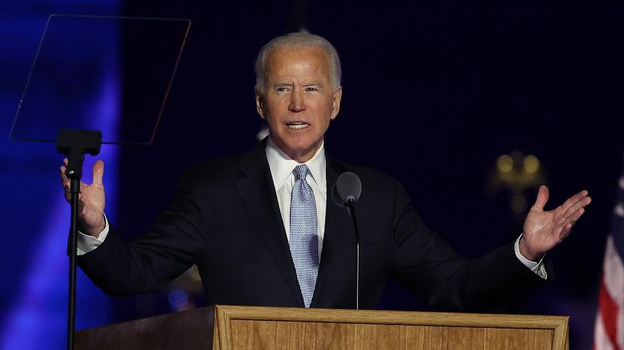 O presidente eleito dos EUA, Joe Biden, discursa em Wilmington, Delaware - Imagem: Tasos Katopodis/Getty Images