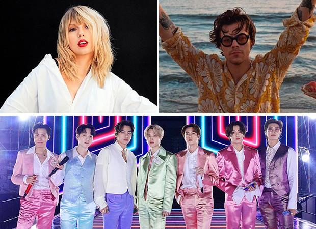 Taylor Swift, BTS e Harry Styles foram indicados ao Grammy 2021 (Foto: Reprodução/ Instagram)