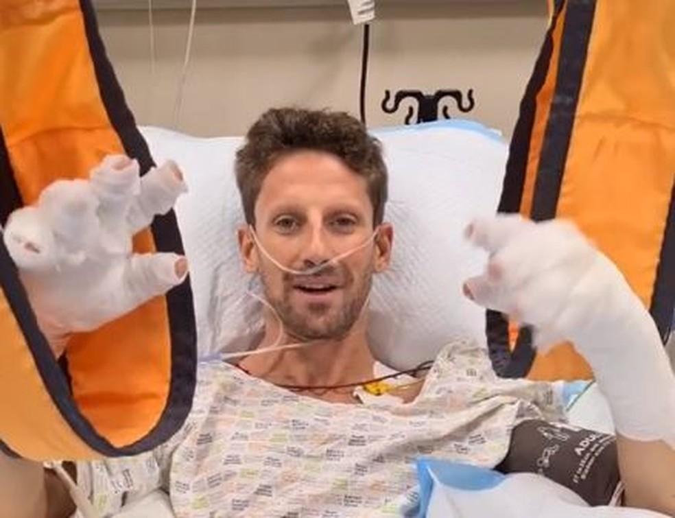 Romain Grosjean mandou uma mensagem no hospital-Reprodução