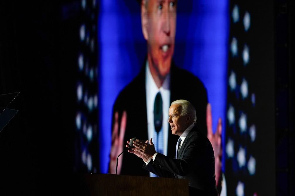 Joe Biden faz 1º discurso após ser eleito novo presidente dos EUA Foto: Carolyn Kaster/AP Photo
