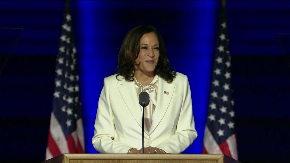 Kamala Harris fez o primeiro discurso como vice-presidente eleita dos Estados Unidos
