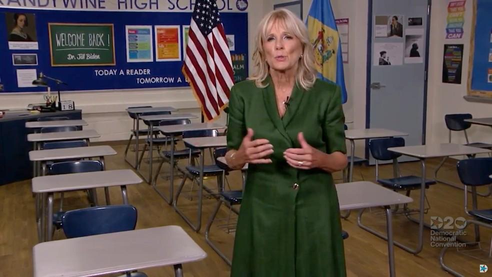 Jill Biden em vídeo feito na escola de Brandywine
