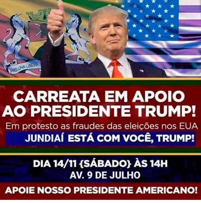 Cartaz da carreata no suposto protesto em favor de Trump em Judiaí, em São Paulo (Reprodução/ Redes Sociais)