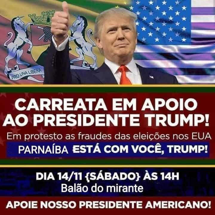 Cartaz de suposta carreata em favor de Trump em Parnaiba (Reprodução/ Redes Sociais)