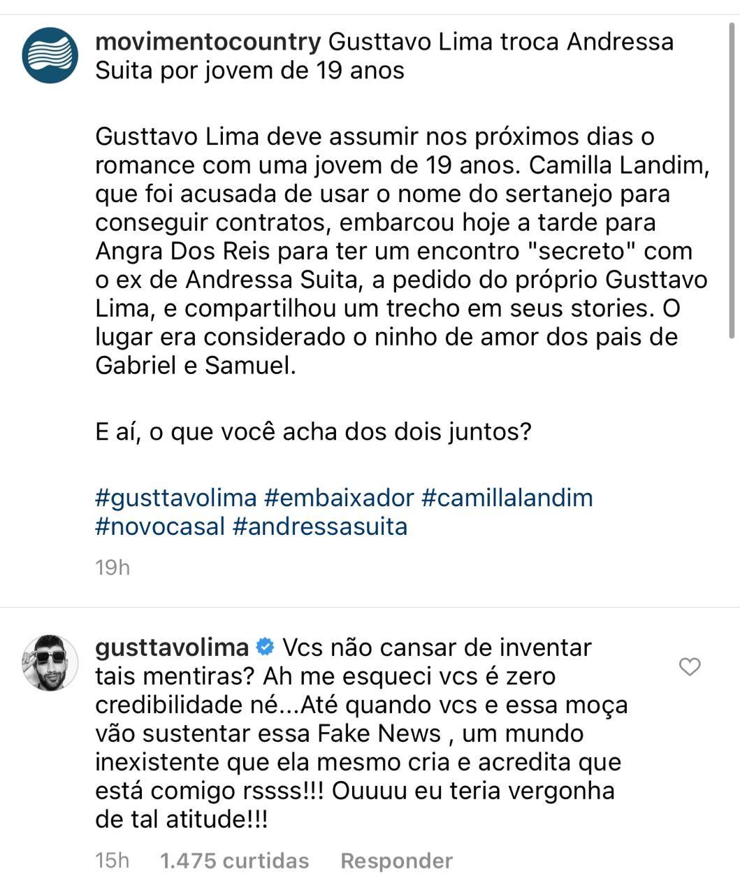 """Gusttavo Lima nega affair e culpa modelo por """"inventar fake"""" - Imagem 3"""