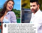 """Gusttavo Lima nega affair e culpa modelo por """"inventar fake"""""""