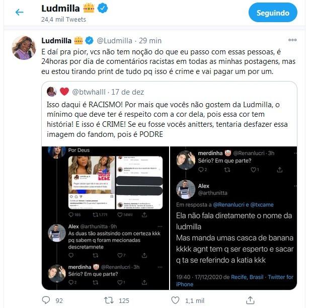 Ludmilla desativa redes sociais após sofrer ataques racistas - Imagem 2