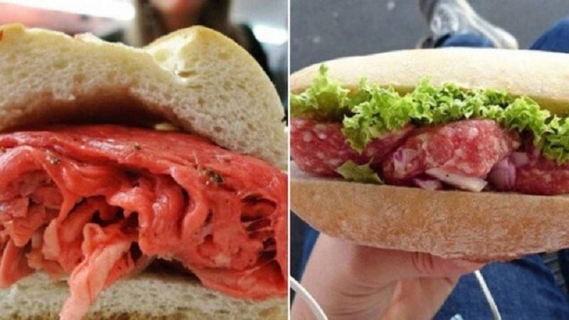 Autoridades sanitárias de Wisconsin (EUA) manifestaram nesta semana preocupação após viralizarem imagens de sanduíches de carne crua- Foto: Reprodução redes sociais