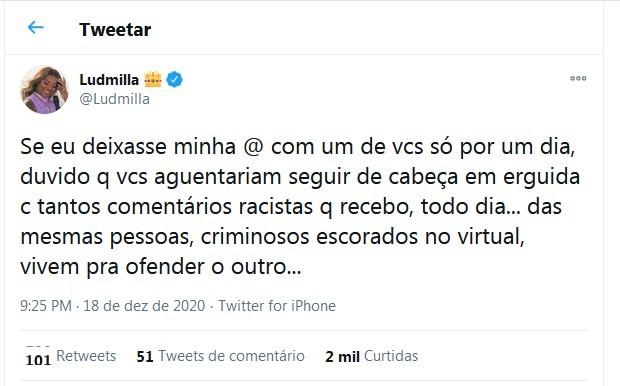 Ludmilla desativa redes sociais após sofrer ataques racistas - Imagem 1