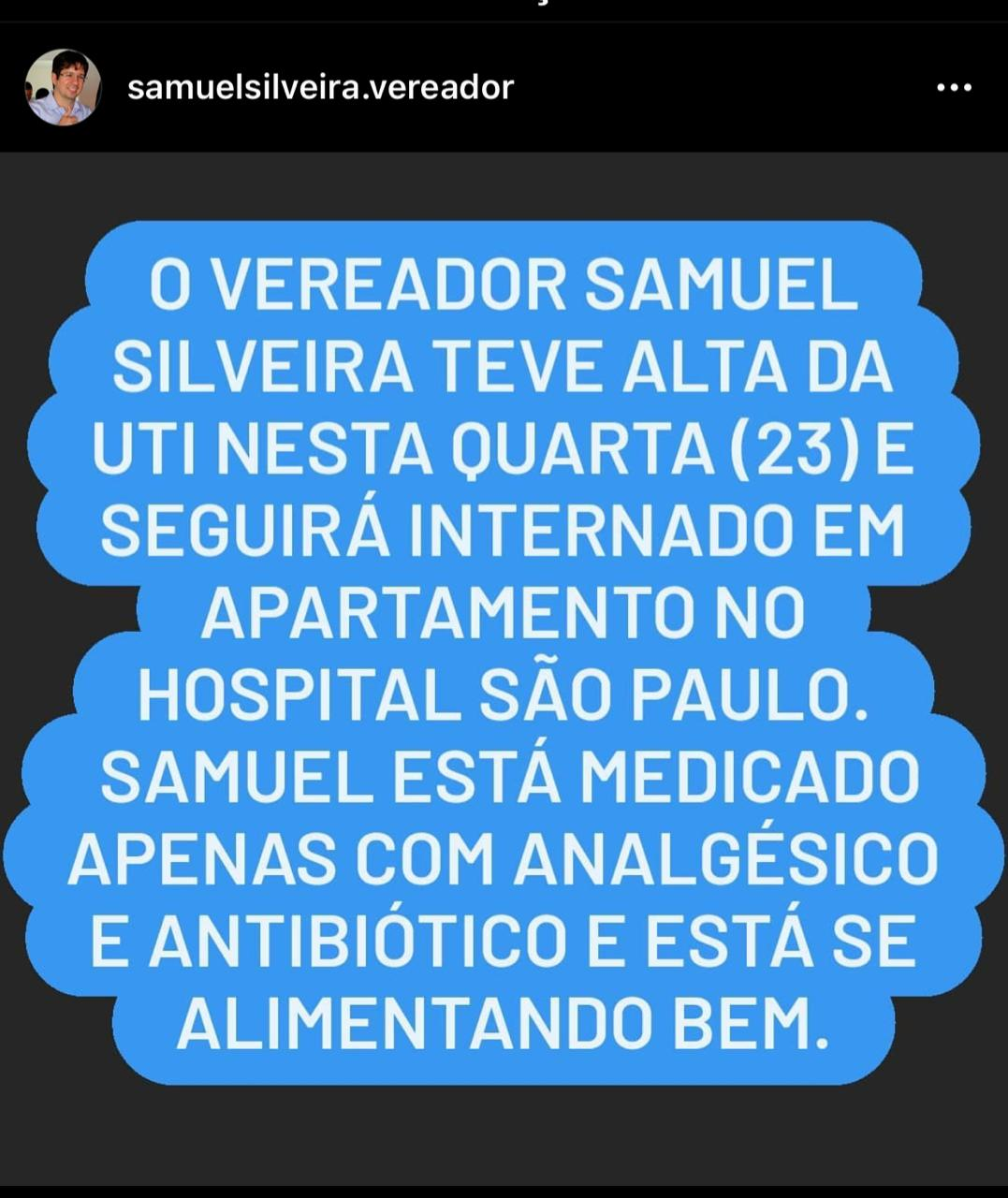 Samuel Silviera recebe alta da UTI