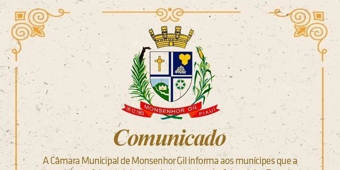 Câmara Municipal de Monsenhor Gil define os ritos de posse do prefeito, vice e vereadores