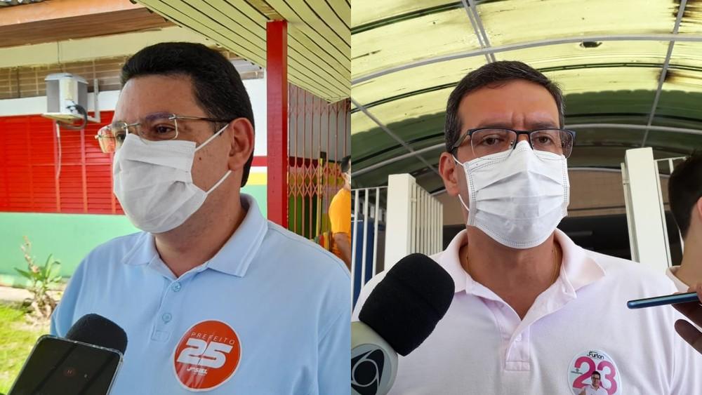 Josiel, do DEM, e Dr. Furlan, do Cidadania, vão disputar o 2º turno em Macapá — Foto: Victor Vidigal/G1; Caio Coutinho/G1