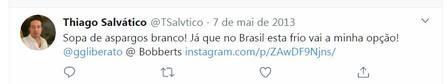 Thiago Salvático trocava mensagens com Gugu Liberato pelo Twitter
