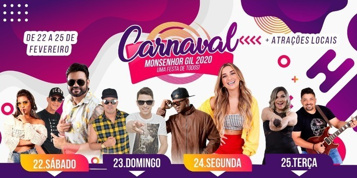 Confirmada a programação de Carnaval de Monsenhor Gil 2020