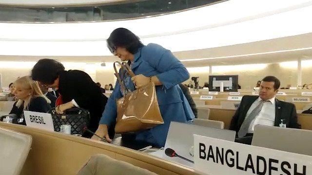 Ato da ministra da Mulher, da Família e dos Direitos Humanos aconteceu durante Conselho dos Direitos Humanos das Nações Unidas, em Genebra, na Suíça. Damares abandonou local assim que chanceler venezuelano começou a discursar