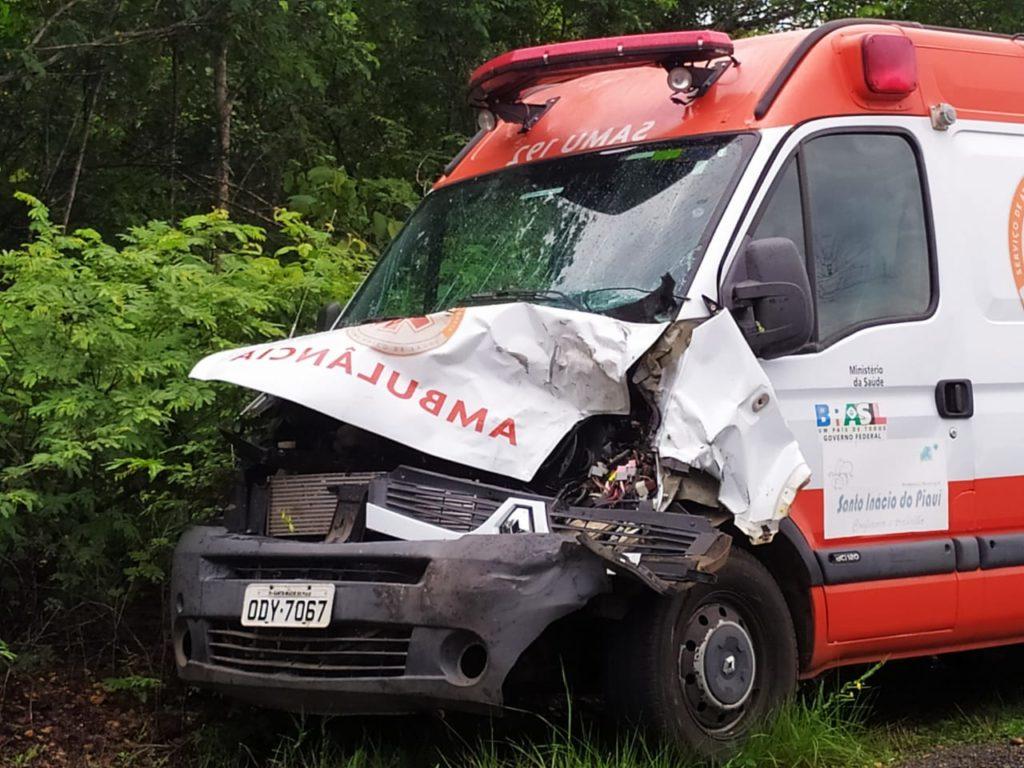 Ambulância do SAMU fica danificada ao colidir contra animal na PI-143  - Imagem 1