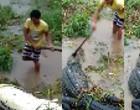 Jacaré é morto após engolir cachorro e tentar atacar mulher; vídeo