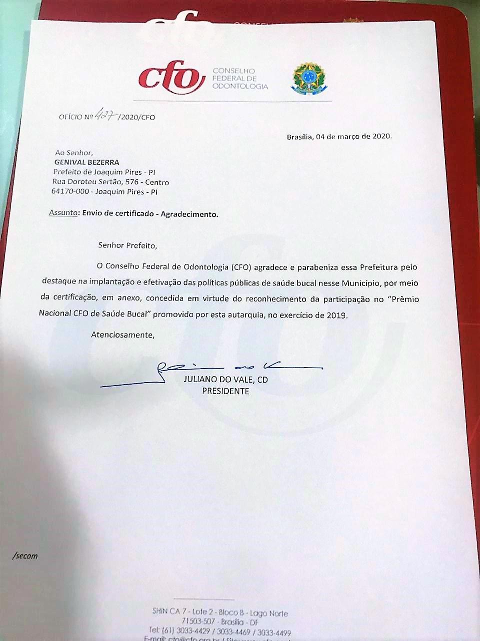 Joaquim Pires é certificado com Prêmio Nacional CFO de Saúde Bucal - Imagem 1
