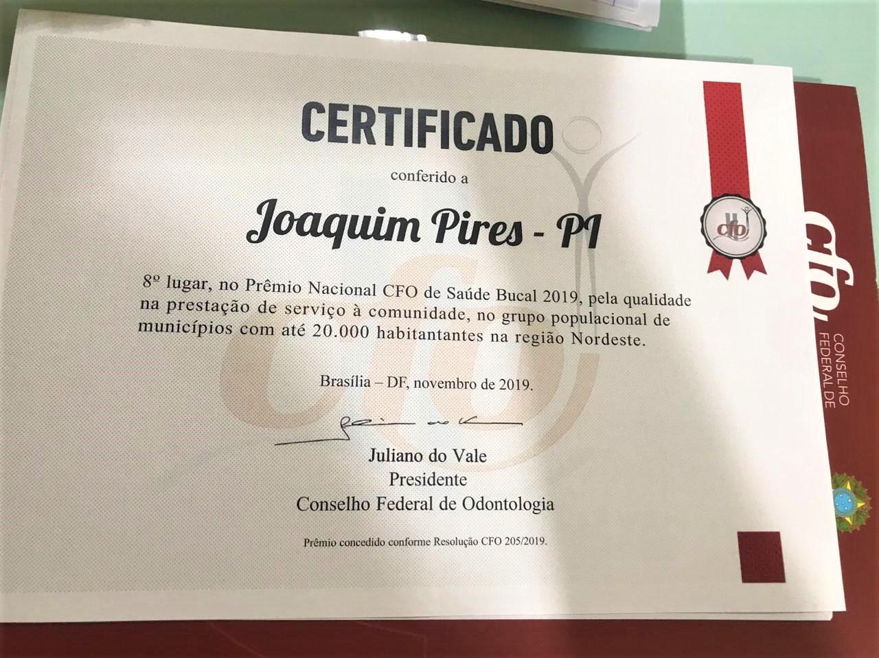 Joaquim Pires é certificado com Prêmio Nacional CFO de Saúde Bucal - Imagem 2