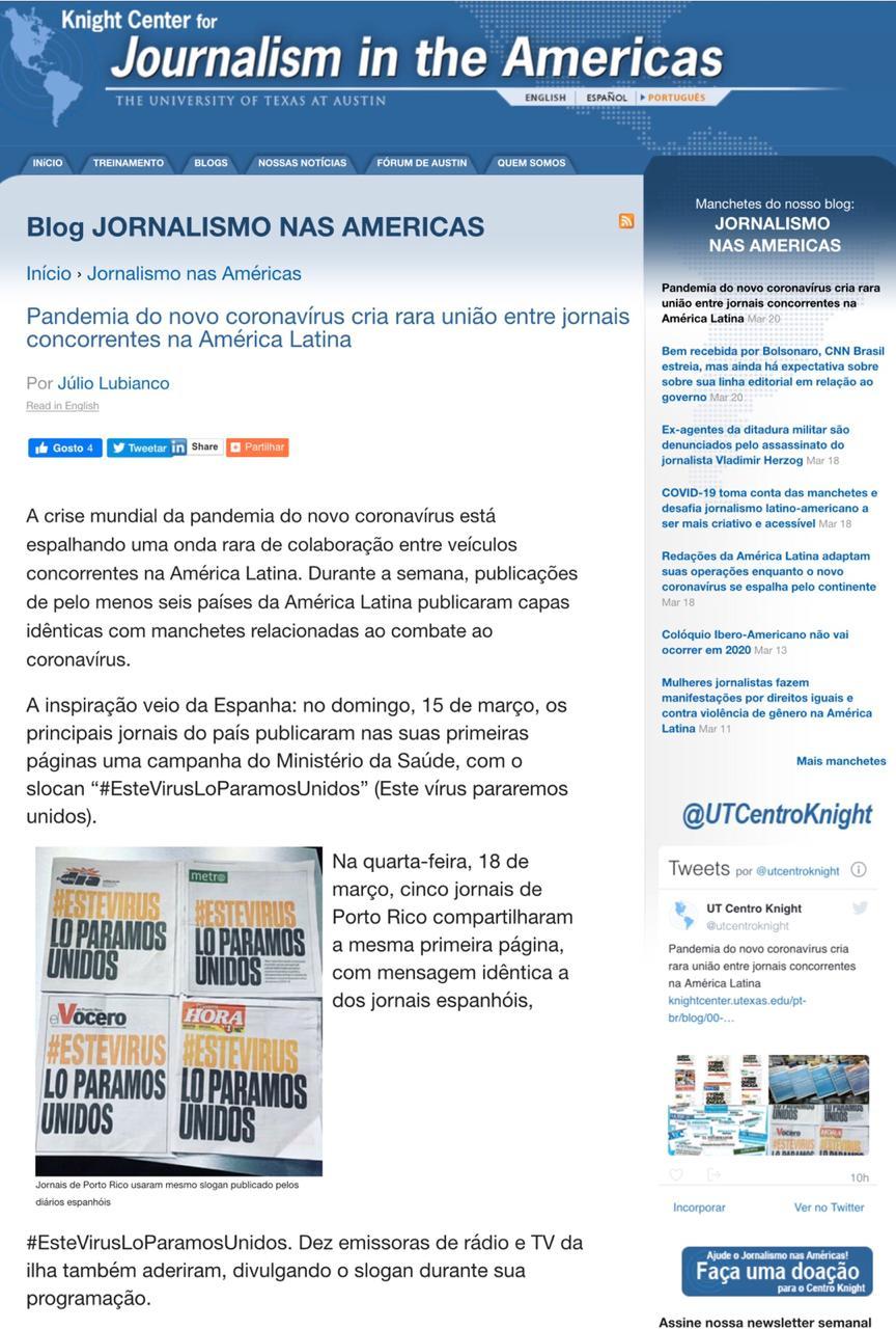 Iniciativa do Jornal MN e O Dia repercute na imprensa internacional - Imagem 2