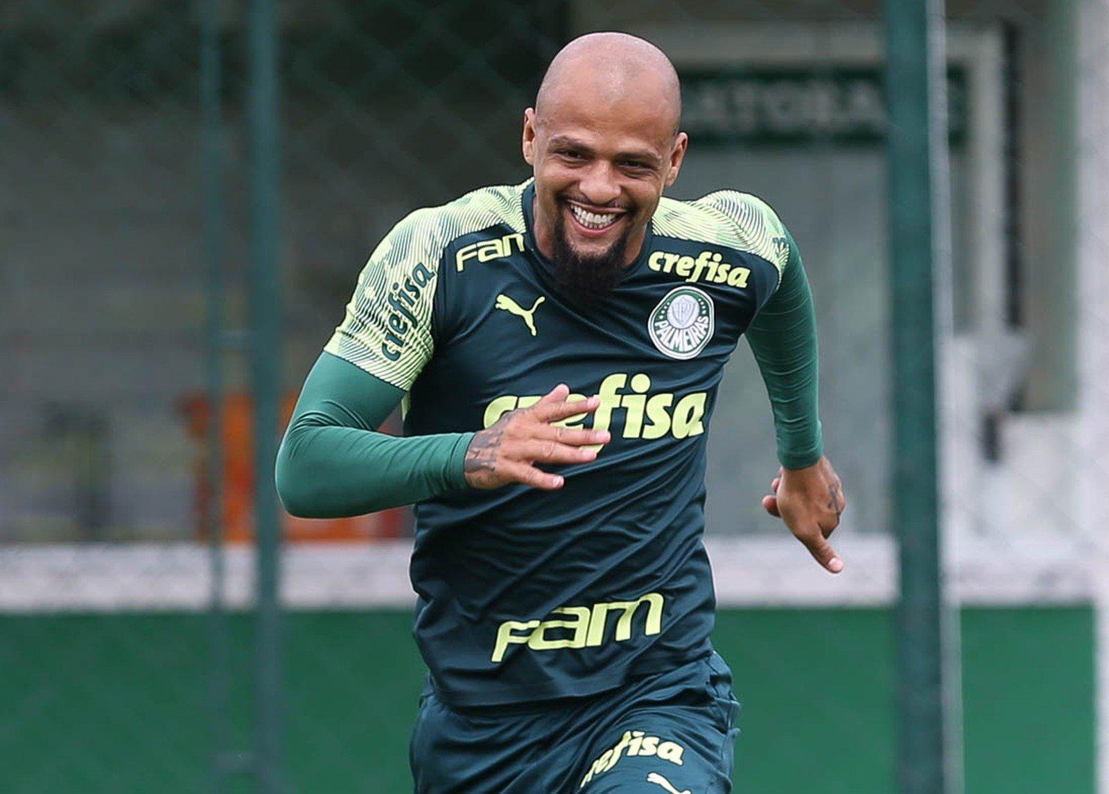 Felipe Melo durante treino do Palmeiras — Foto: Cesar Greco / Ag Palmeiras