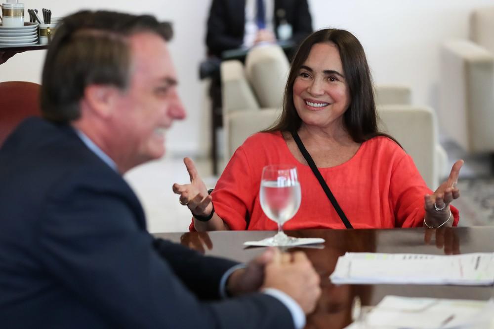Regina Duarte e Bolsonaro — Foto: Marcos Corrêa/PR