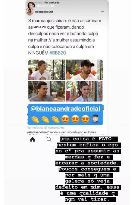 """Eliminada do """"BBB 20"""", Bianca critica Hadon, Petrix e Lucas no Instagram"""