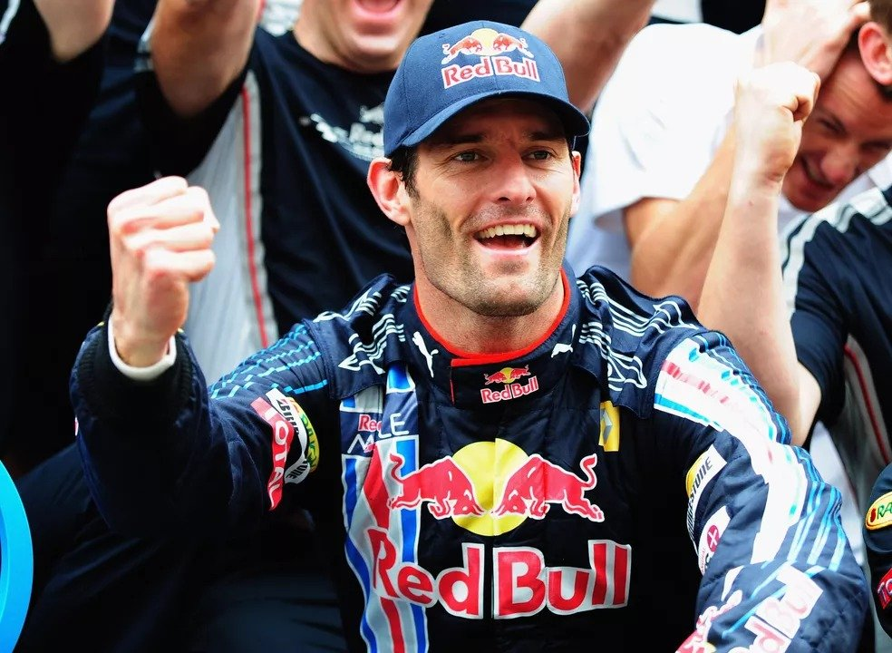 Mark Webber comemora vitória no GP do Brasil de 2009 — Foto: Agência Getty Images