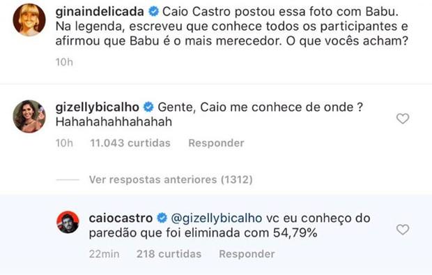"""Caio Castro alfineta Gizelly após dizer que conhece todos do """"BBB 20"""" - Imagem 2"""