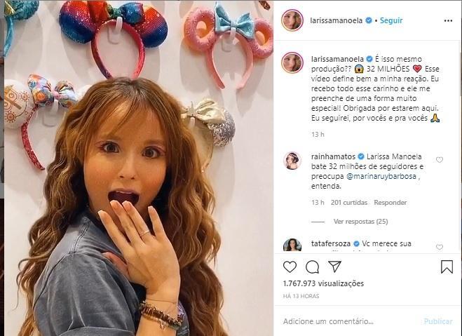 Larissa Manoela comemora a marca de 32 milhões de seguidores - Imagem 2