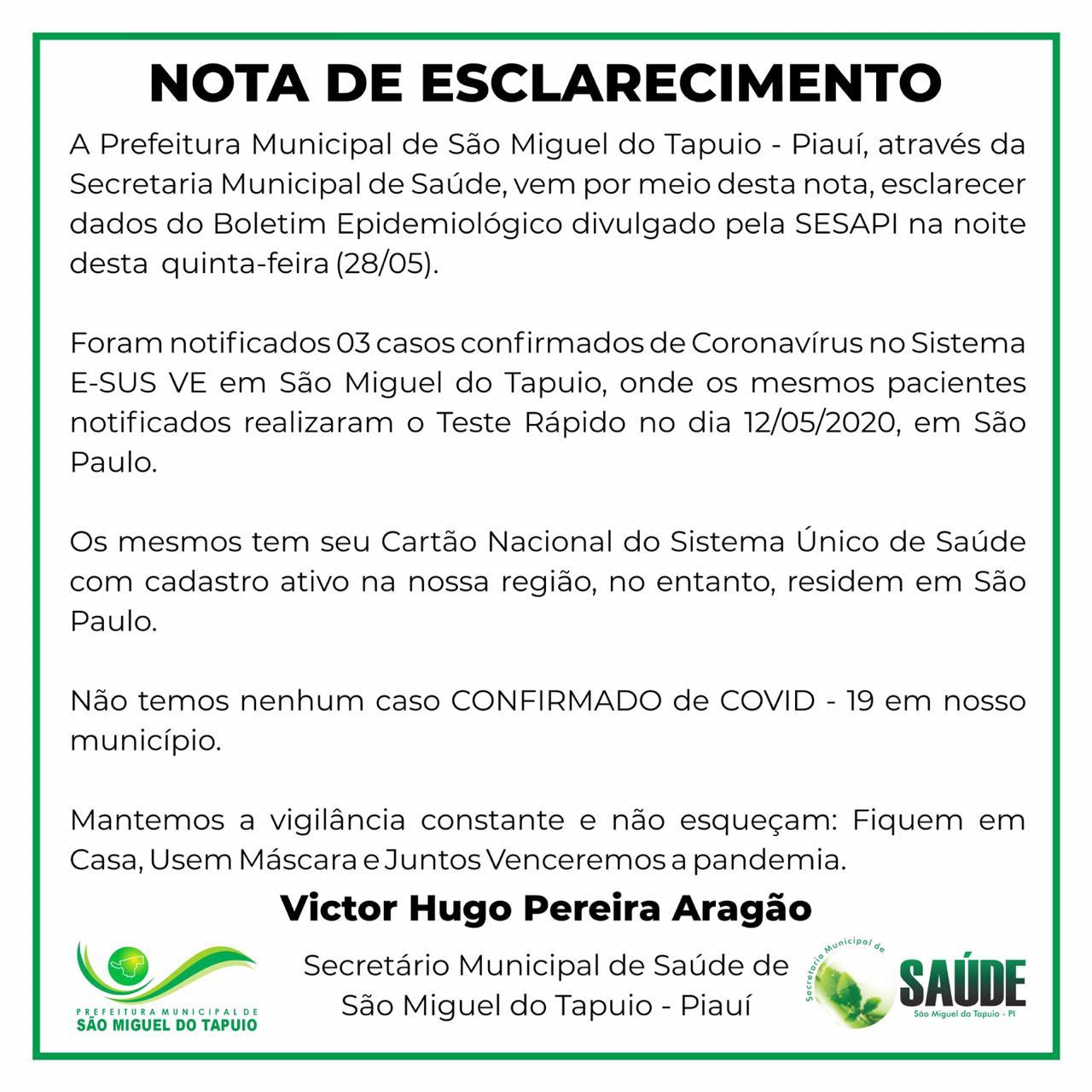 Secretaria diz que não há casos de Covid-19 em São Miguel do Tapuio - Imagem 1