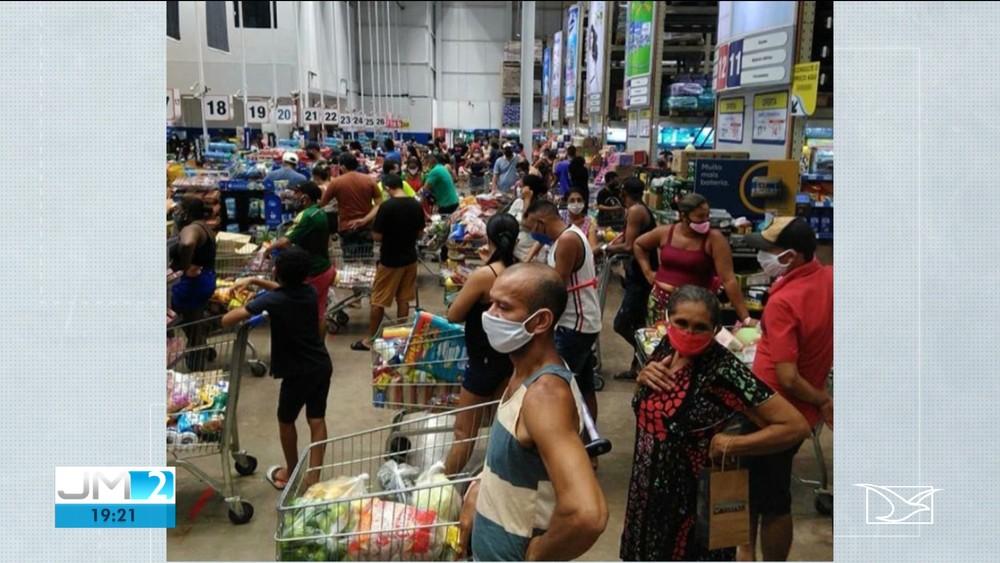 Anúncio de lockdown causa lotação em supermercados da Grande São Luís - Imagem 1