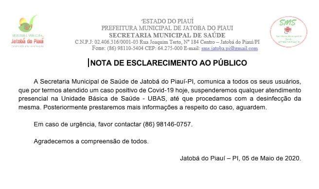 COVID-19   Paciente de Sigefredo Pacheco testa positivo em UBS de Jatobá do Piauí