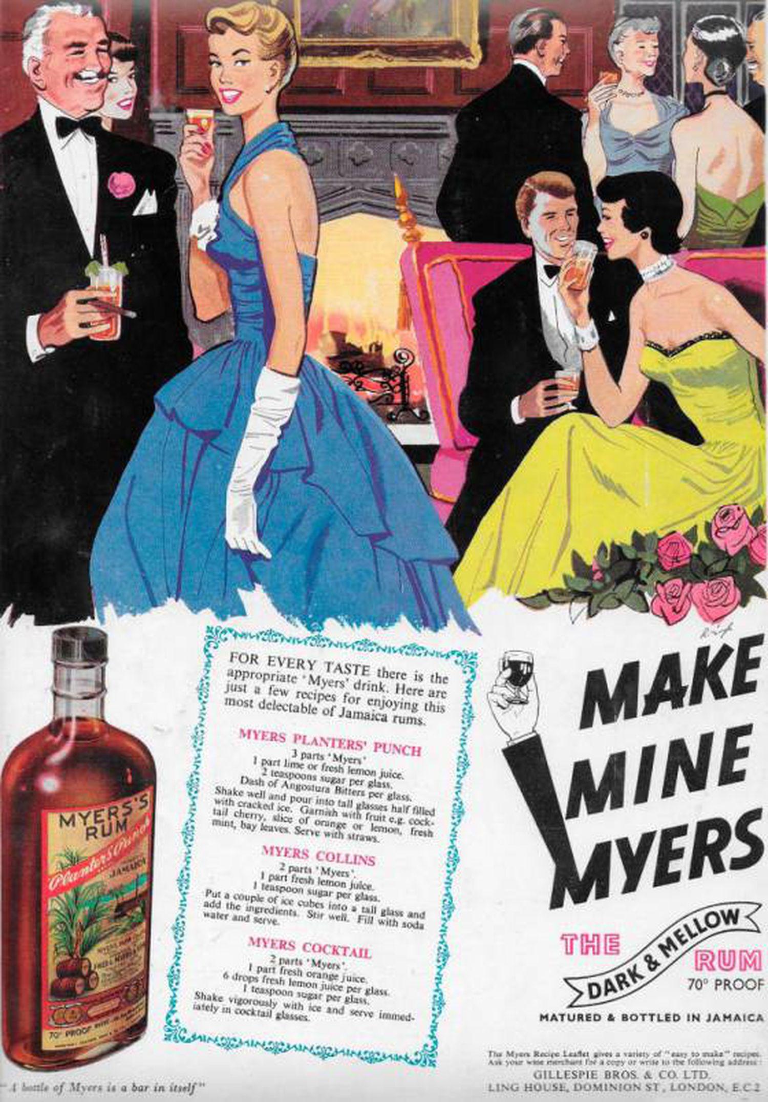 """Anúncio da marca de rum Myers""""s publicado na revista britânica 'Country Life' em 1951. GEOGRAPHY PHOTOS/UNIVERSAL IMAGES GROUP / GETTY IMAGES"""
