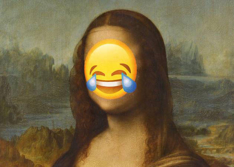 """""""Mona Lisa"""", também conhecida como """"La Gioconda', um dos sorrisos mais populares da arte, com um emoji sobre seu rosto"""