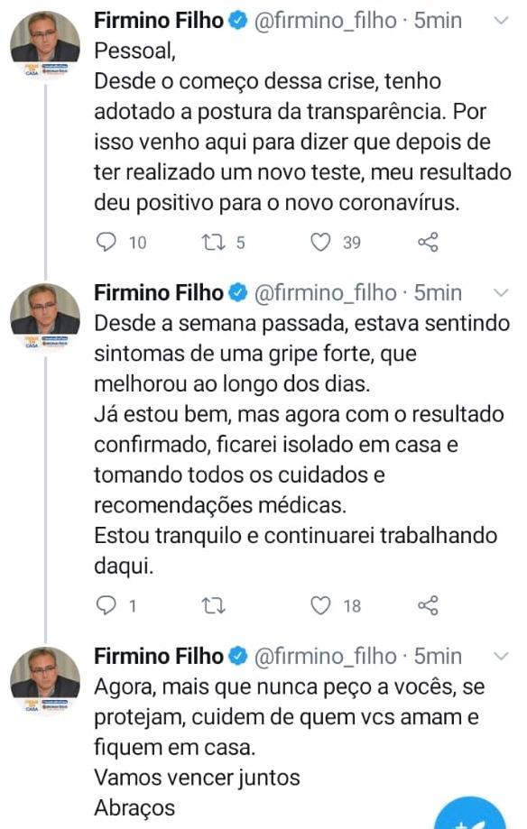Prefeito Firmino Filho testa positivo para coronavírus  - Imagem 1