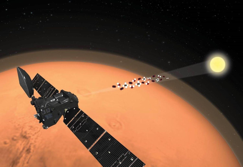 Recriação da mudança de orientação do NOMAD que permitiu a detecção do traço de oxigênio na atmosfera de Marte.CSIC