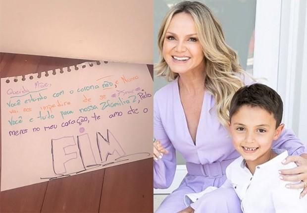 Filho resolveu escrever uma carta para Eliana e passou por debaixo da porta