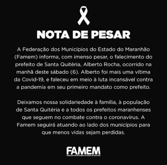Covid-19: Morre prefeito Alberto Rocha de Santa Quitéria no Maranhão - Imagem 2