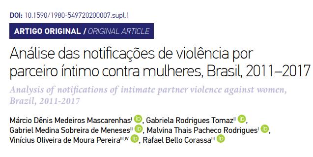 Pesquisa foi publicada na Revista Brasileira de Epidemiologia