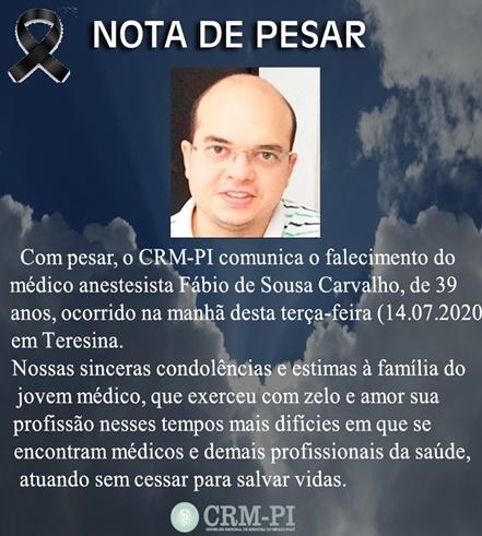 CRM-PI divulga nota de pesar pela morte do médico (Divulgação)