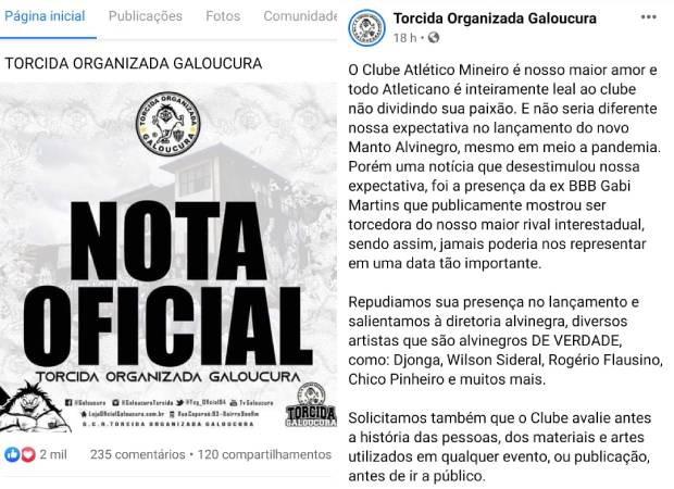 Torcida do Atlético-MG emite nota de repúdio à ex-BBB Gabi Martins