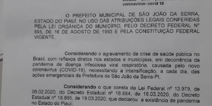 Decreto Municipal deixa domingos em lockdown na cidade de São João da Serra