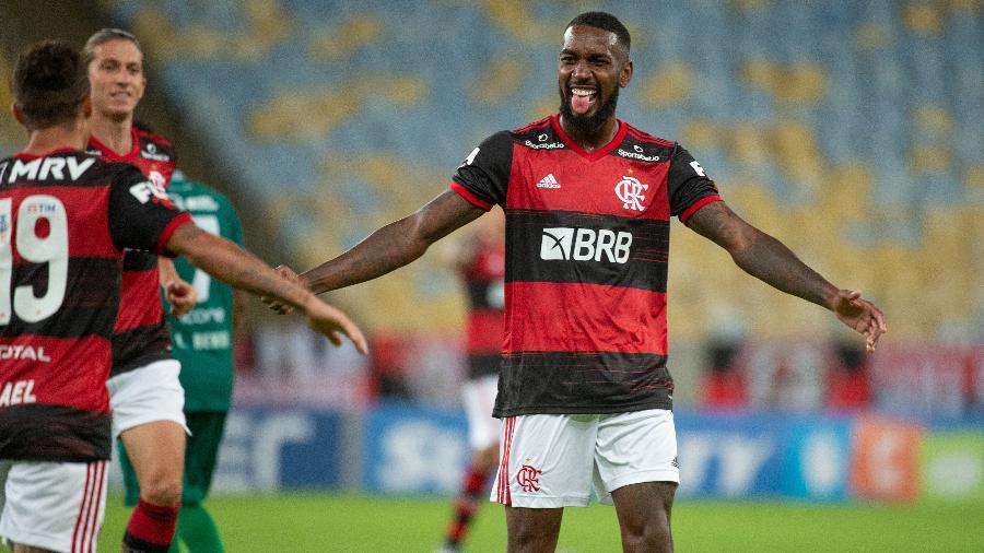 Gerson, do Flamengo, comemora gol contra o Boavista no Campeonato Carioca-Foto: Alexandre Vidal