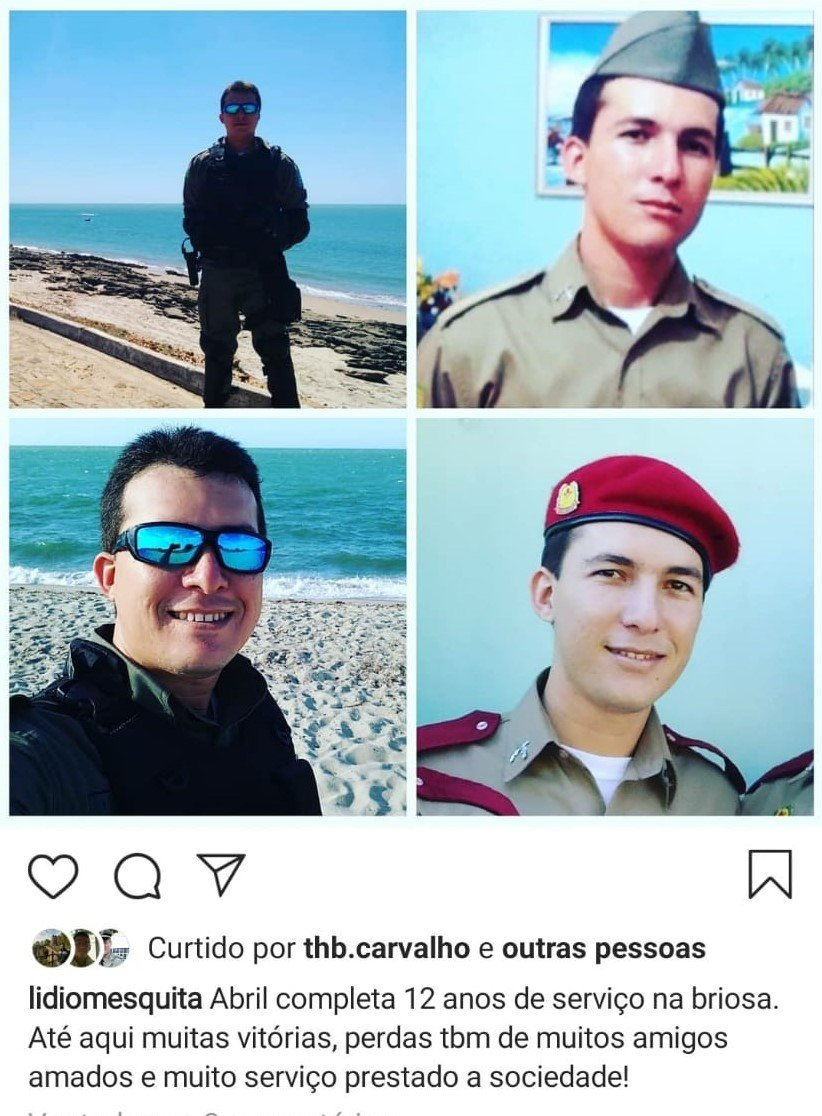 Policial morto em assalto foi identificado como Lídio Mesquita, do 13° PM (Reprodução/ Instagram)